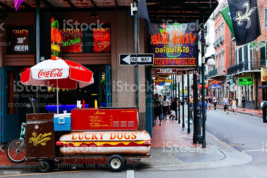 Hot Dogs Stand in Bourbon Street, New Orleans, USA royalty-free stock photo