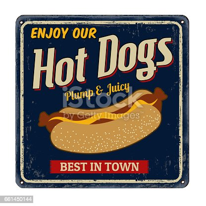 istock Hot dogs vintage rusty metal sign 661450144