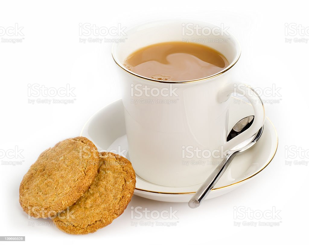 Hot drink and cookies - high-key studio shot stock photo