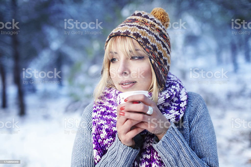 Hot drink in cold day royalty-free stock photo