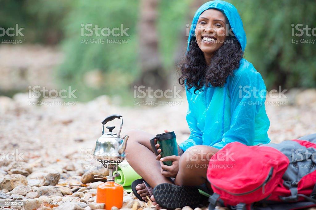 Hot drink in cold weather outdoors. Lizenzfreies stock-foto