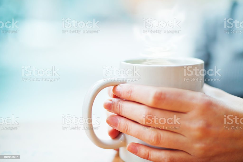 Hot drink in winter stock photo