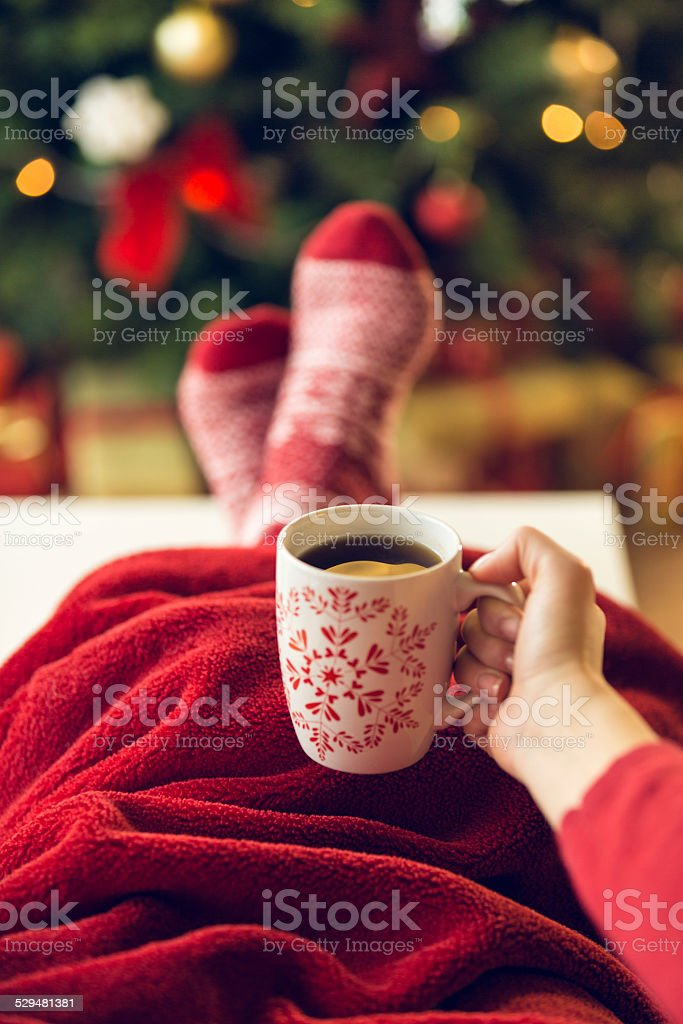 Hot drink on New year's eve stock photo