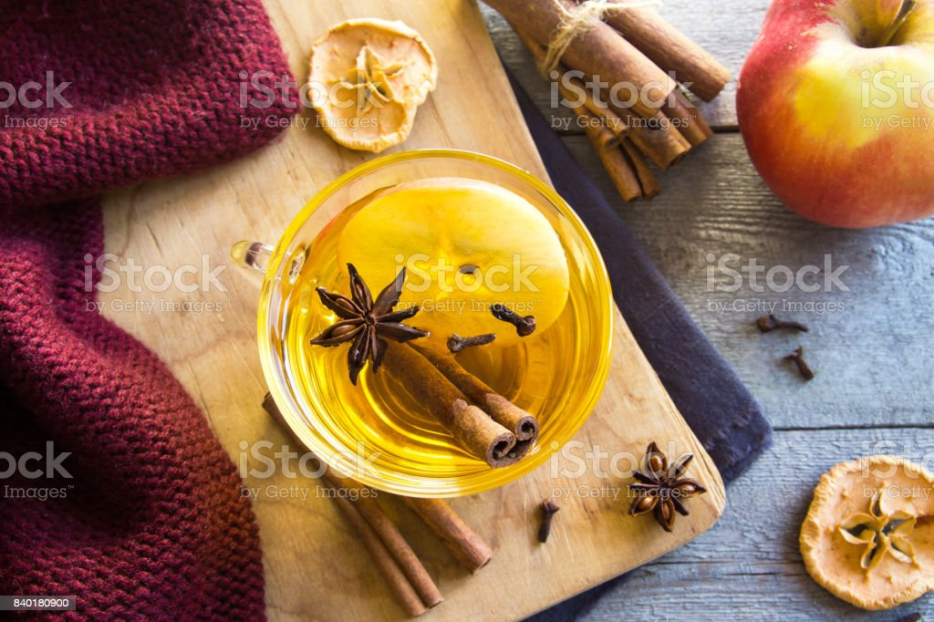 Hot drink with apple stock photo