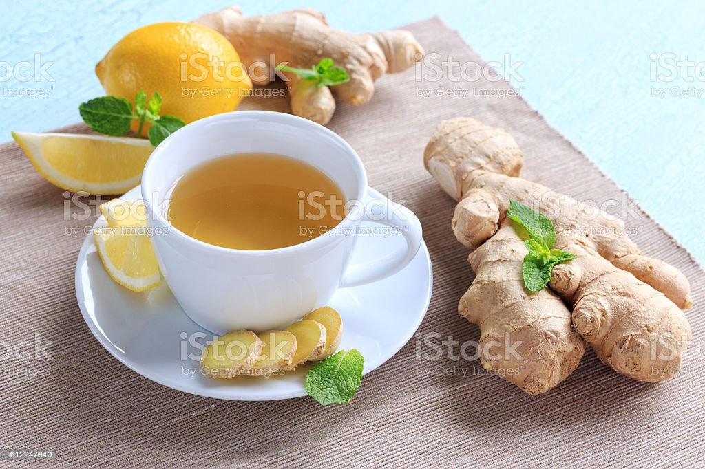 Hot drink with ginger stock photo