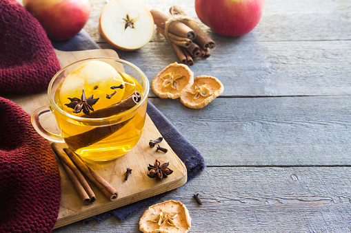Hot drink (apple tea, punch) with spices