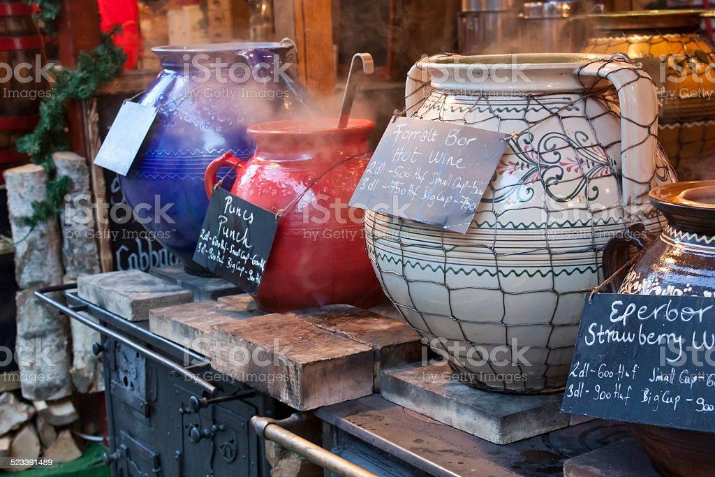 Hot drinks on christmas fair stock photo