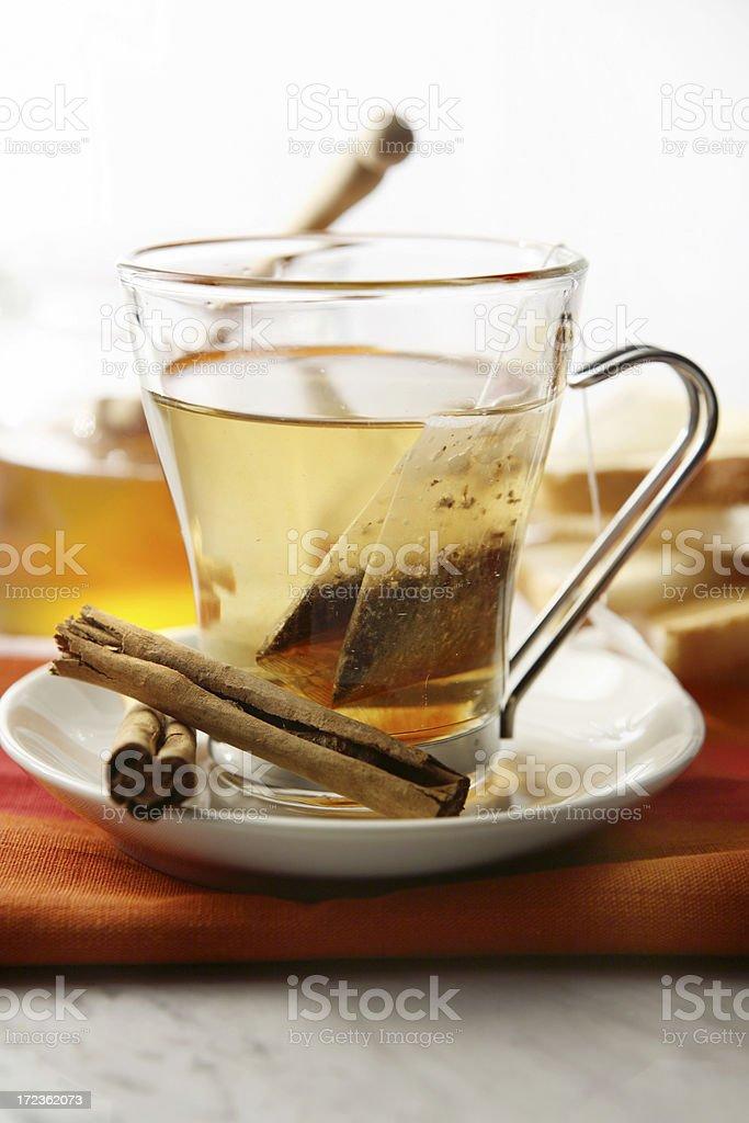 Hot Drinks: Tea and Cinnamon Still Life royalty-free stock photo