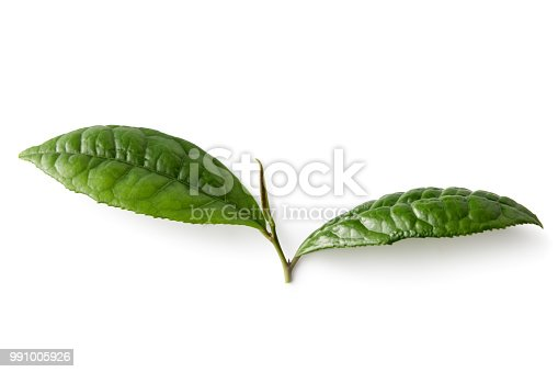 Hot Drinks: Tea Leaf Isolated on White Background