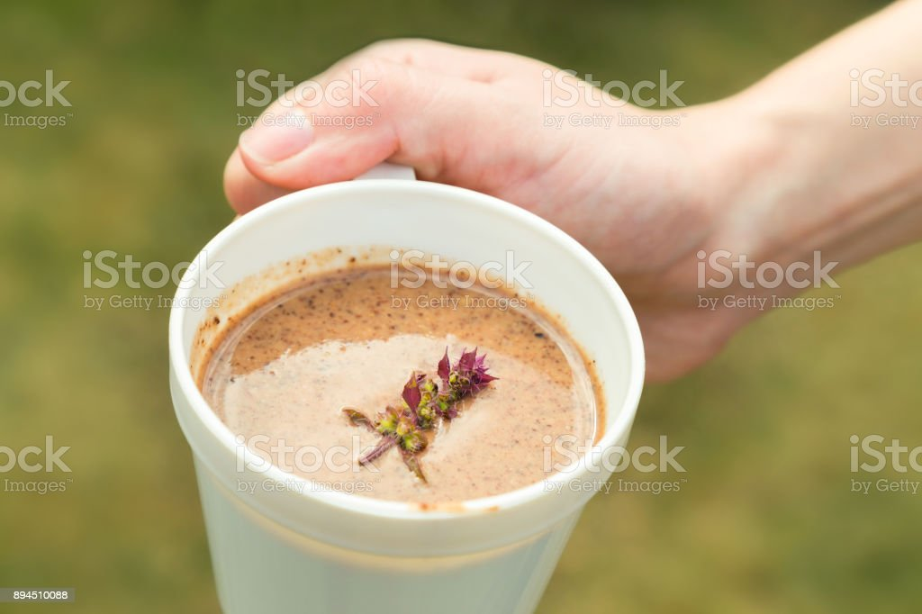 Hot drinks with a mixture of cocoa, chocolate, malt, and fresh basil on top of cup in woman hand ready to drink in the morning time. selective focus. stock photo
