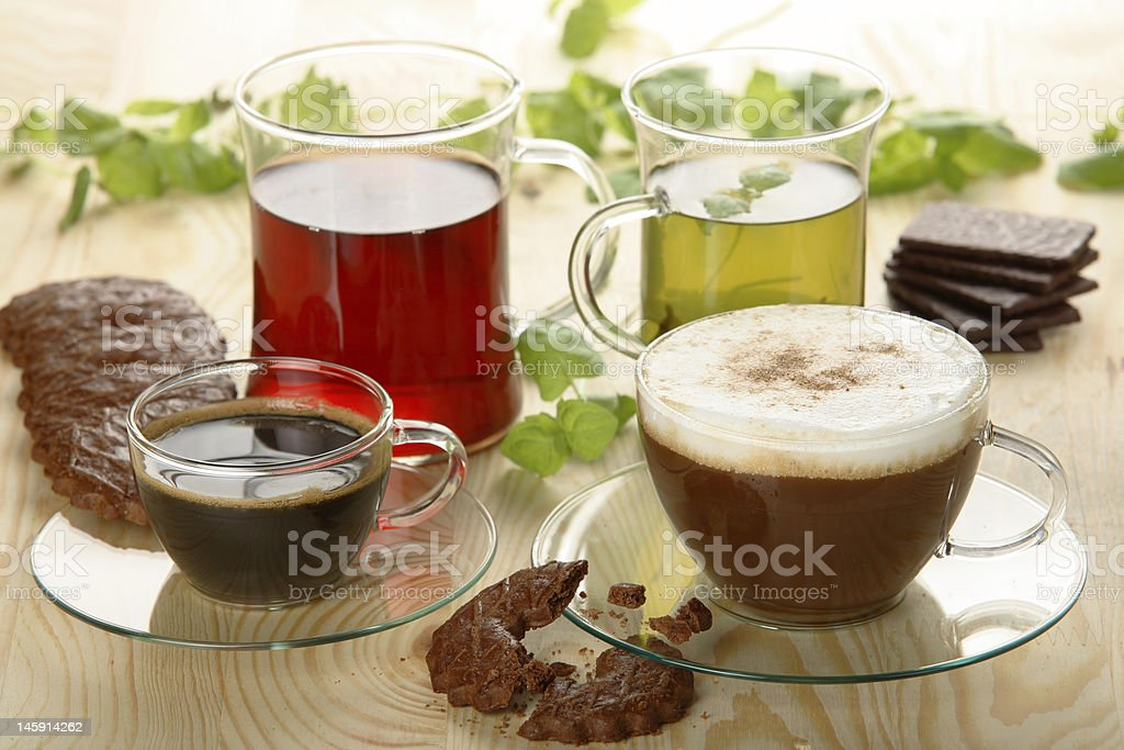 Hot drinks with cookies stock photo