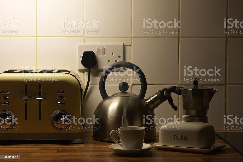 Heißen Espressotasse frühen Morgen in meiner Küche – Foto