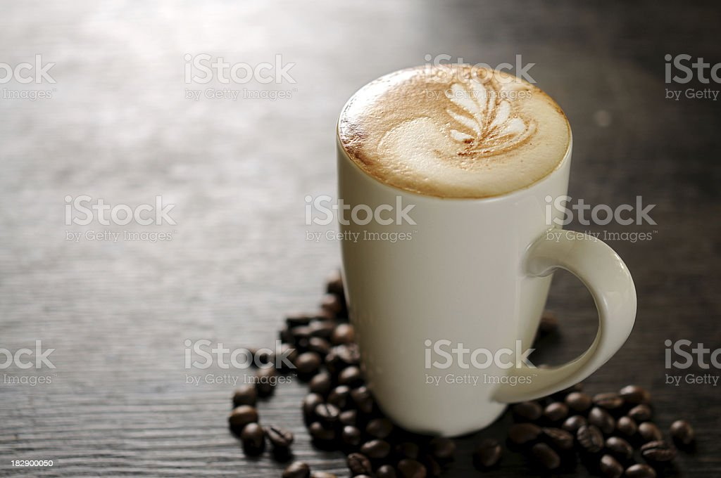 Hot Espresso with Latte Art royalty-free stock photo