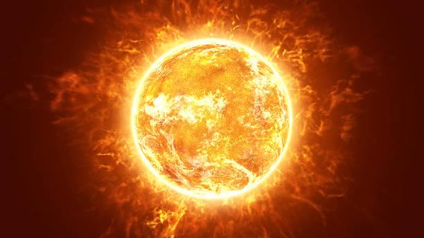 ホット真っ赤な太陽 - 太陽の光 ストックフォトと画像