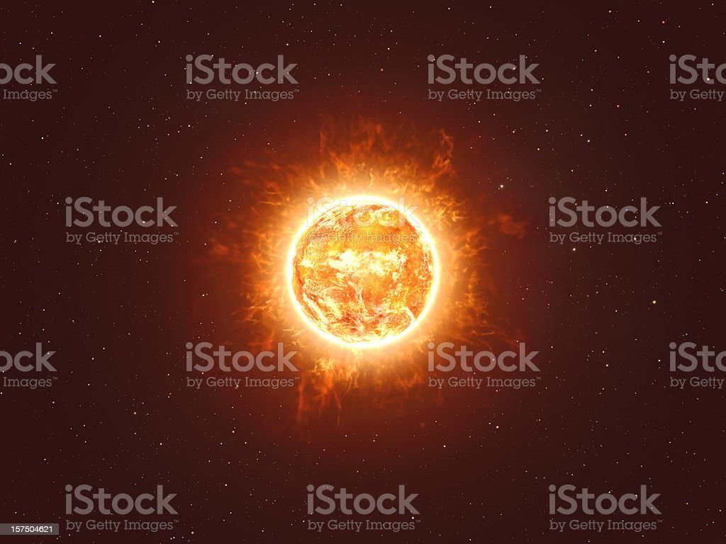 Hot Fiery Sun with Stars HiRes stock photo