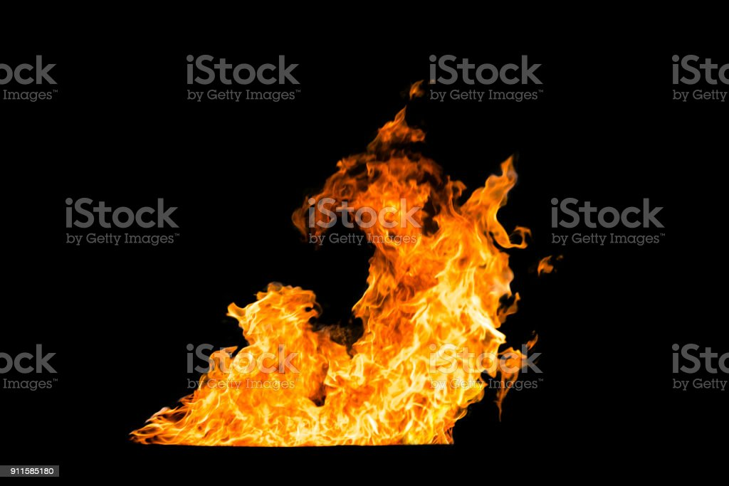 Hot Fire Ball on Black Background for Retouch or Decorate Your Photo stock photo