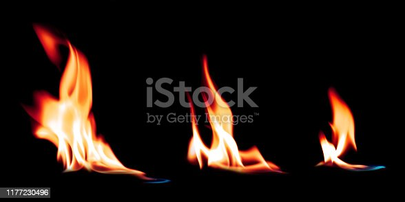 istock Hot fire flames burning on a pure black background. Bright ignition fire effect. 1177230496
