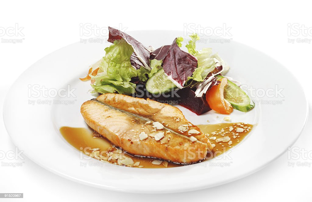 Hot Fish Dishes - Salmon Steak royalty-free stock photo
