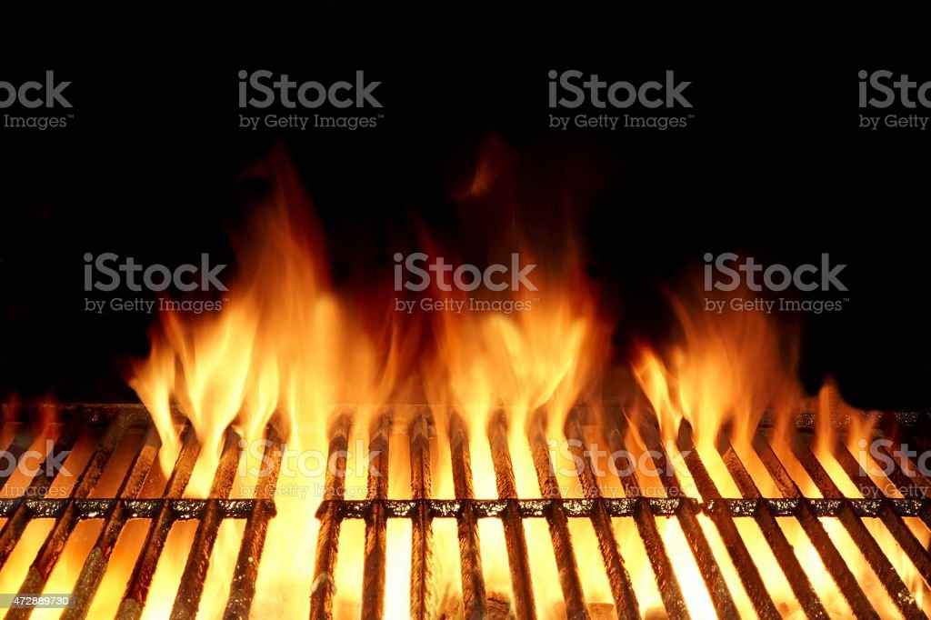 Hot Flaming Charcoal Grill stock photo
