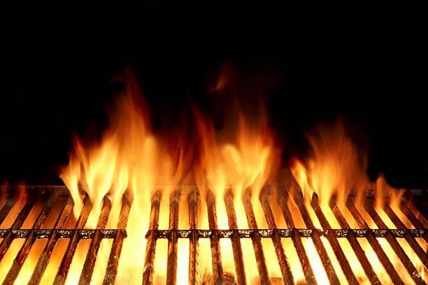 hot flaming charcoal grill - burger and chicken stok fotoğraflar ve resimler