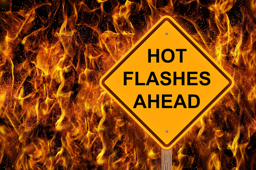 istock Hot Flashes Ahead Warning With Flaming Background 900894144