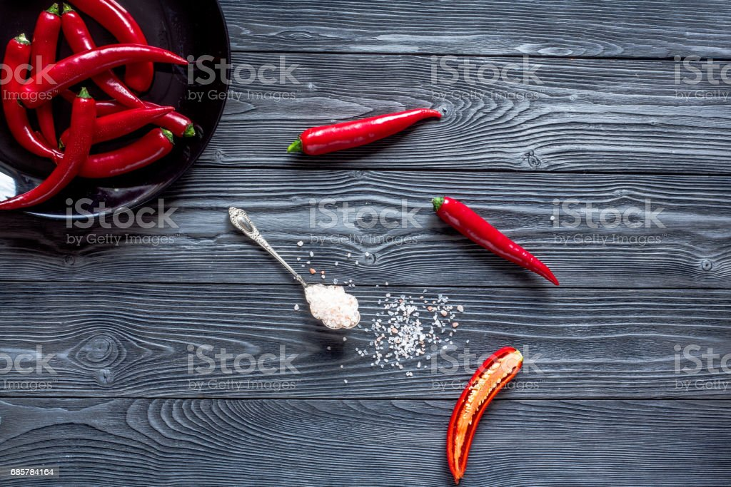 hot food with red chili on wooden table background top view mock up royalty-free stock photo