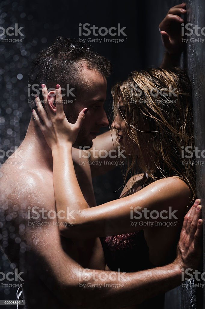 Hot Foreplay In The Shower Royalty Free Stock Photo