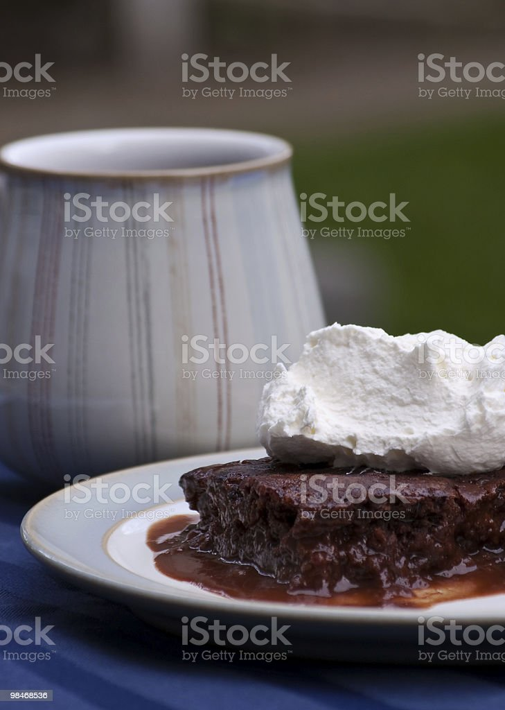 Hot Fudge Pudding Cake with Whipped Cream royalty-free stock photo