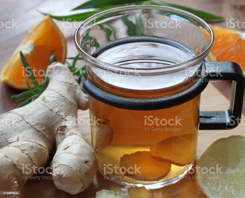 hot ginger orange tea stock photo