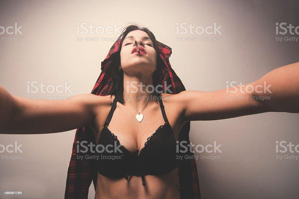 Hot girl taking selfie royalty-free stock photo