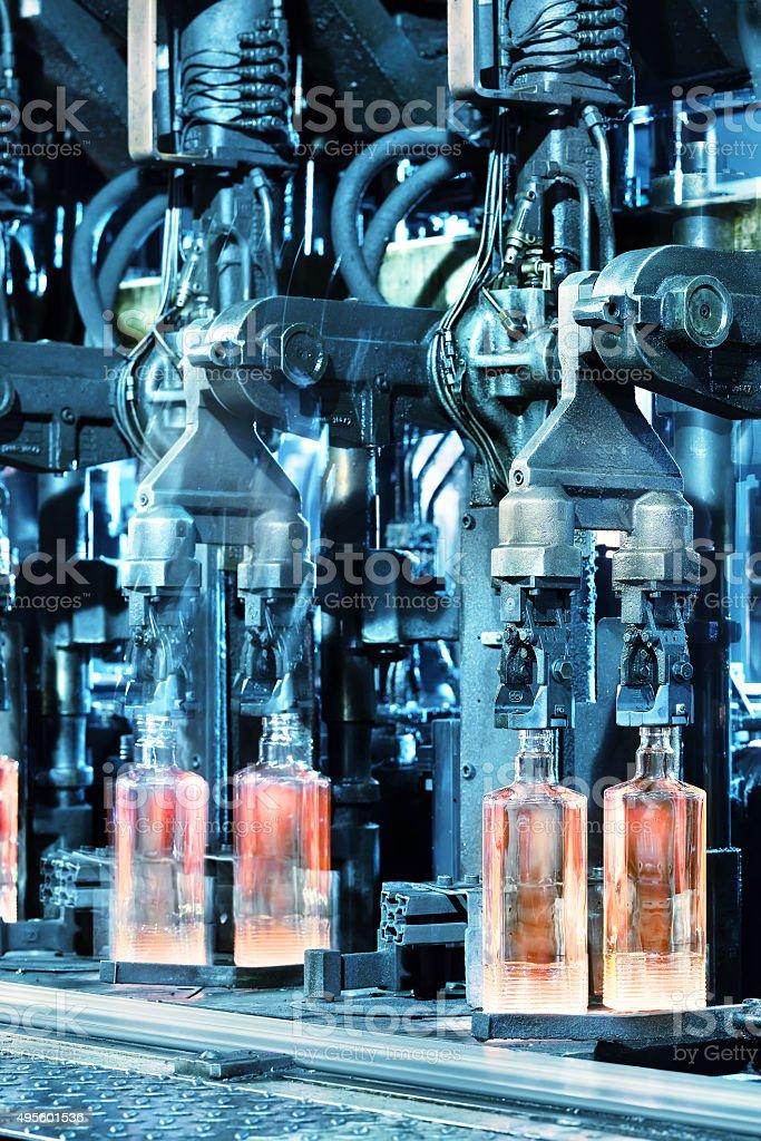 Hot glass bottles stock photo