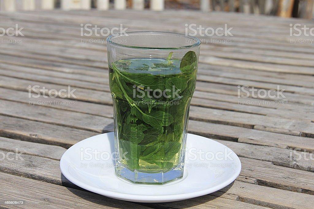 Hot green mint tea royalty-free stock photo