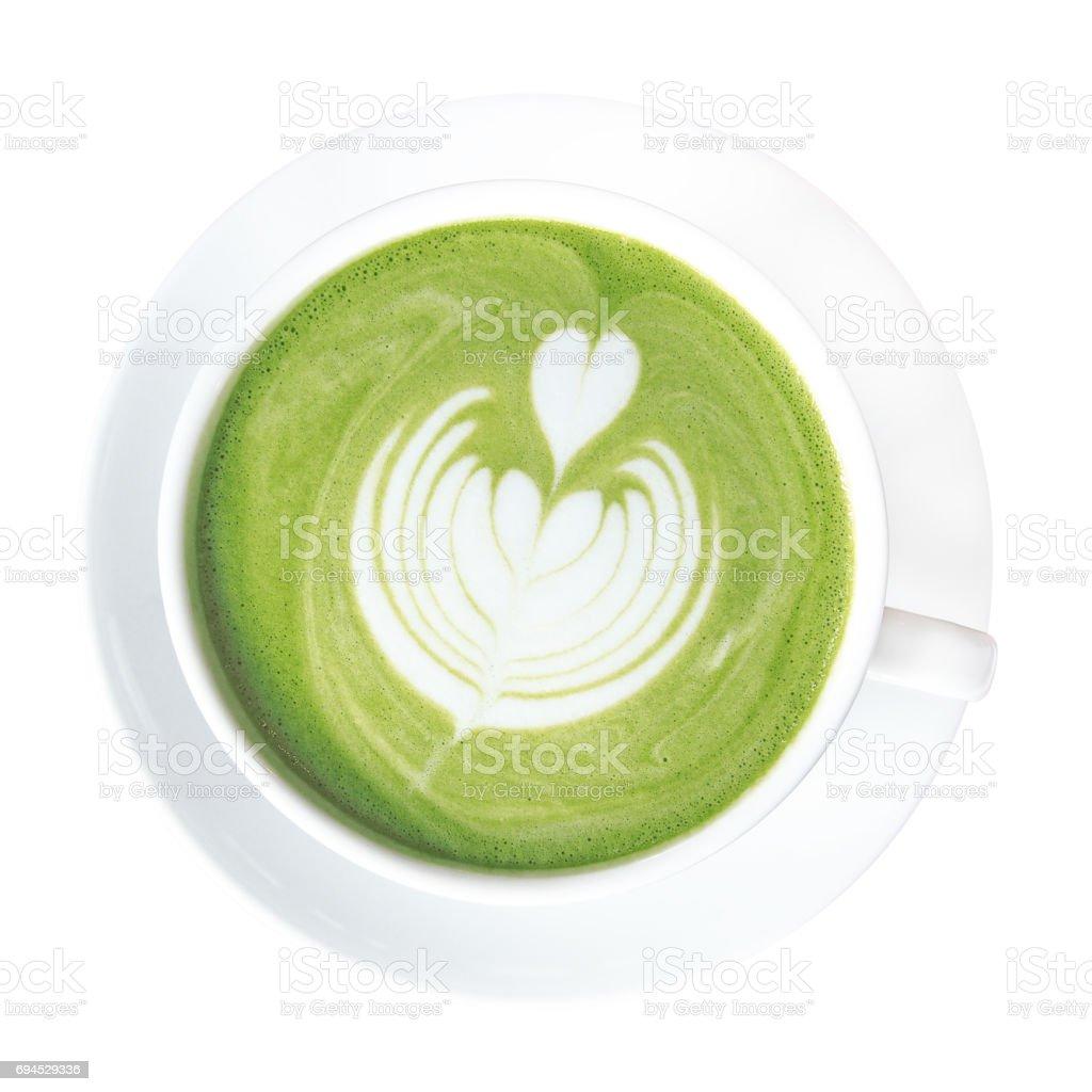 Grüner Tee Matcha Latte Cup Mit Schönen Milch Schaum Latte Kunst An