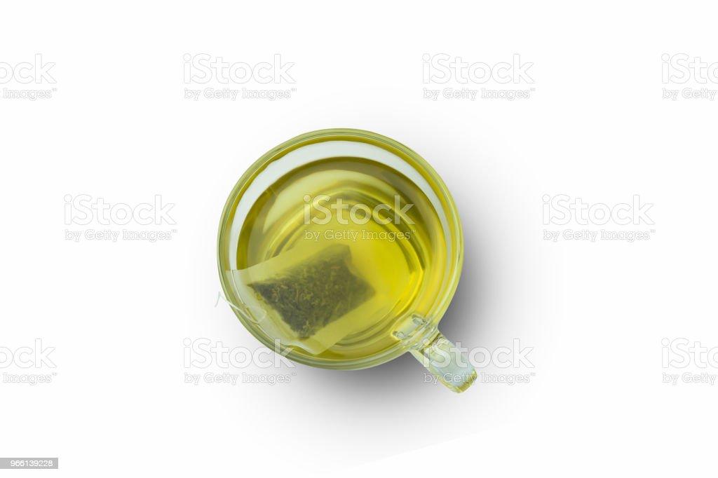 tè verde caldo su sfondo bianco - Foto stock royalty-free di Alimentazione sana