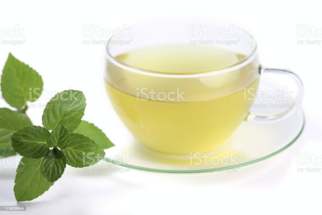 Hot Green Tea with Mint Leaves royalty-free stock photo