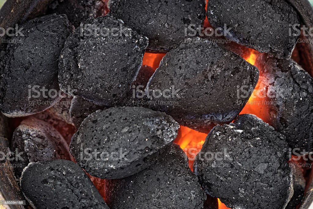 Hot grill briquettes seen from above stock photo