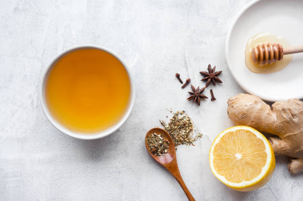 hot herbal ginger tea. - ginger stock photos and pictures
