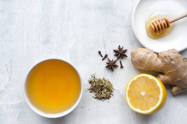 Hot herbal ginger tea. Top view. stock photo