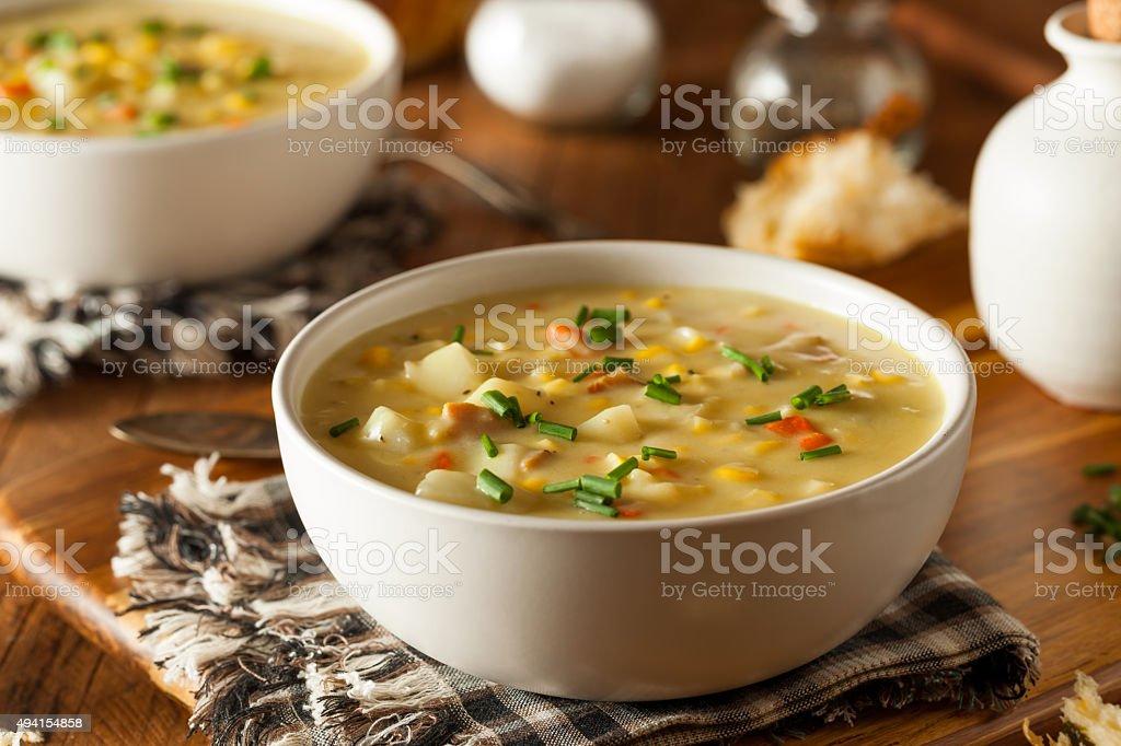 Hot Homemade Corn Chowder stock photo