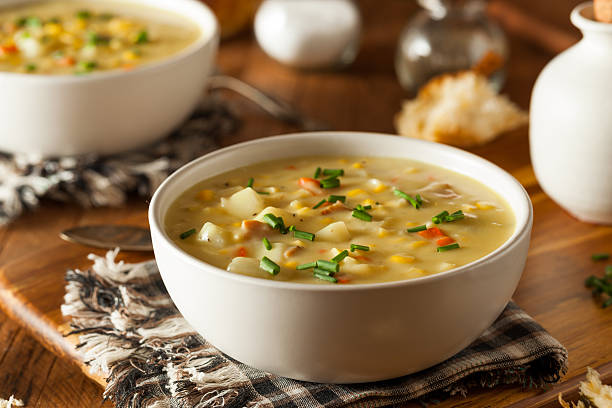 Hot Homemade Corn Chowder stock photo