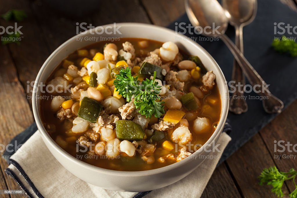 Hot Homemade White Bean Chicken Chili stock photo