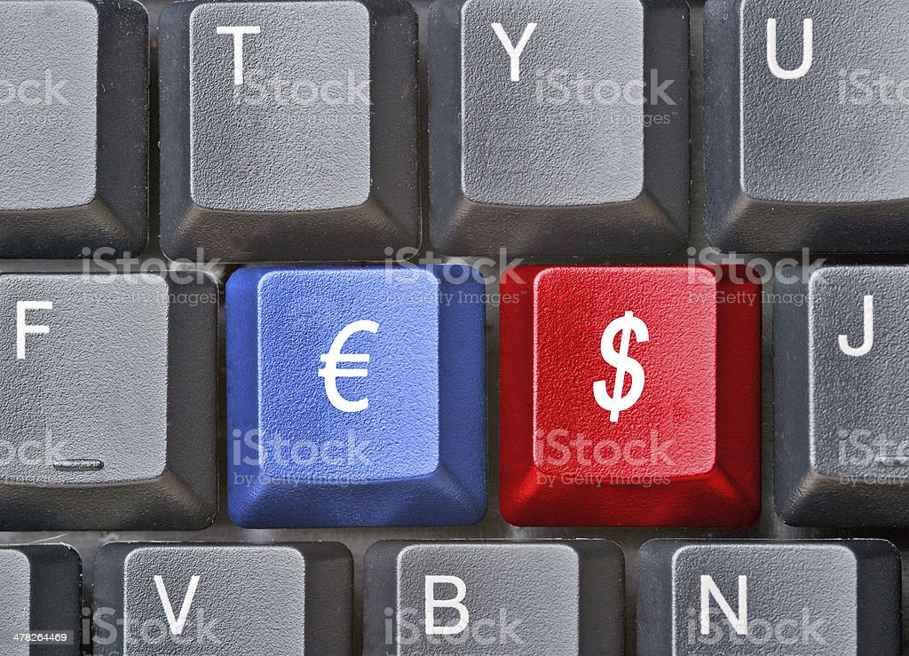Hot keys with symbols of dollar and euro royalty-free stock photo