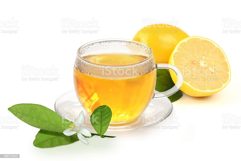 Hot lemon for a cold stock photo