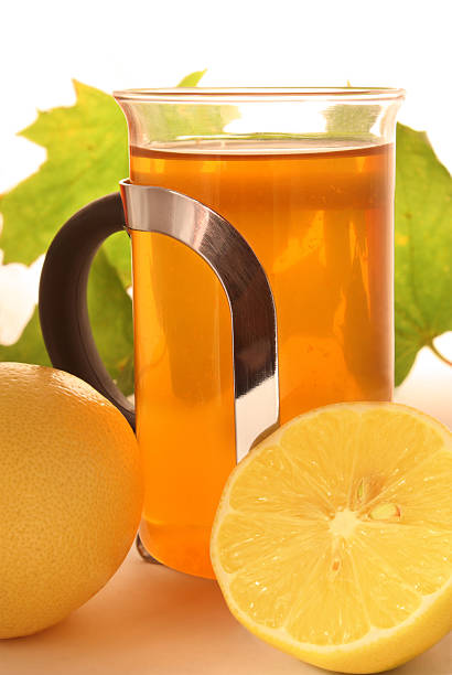 Hot lemon tea with maple leafs  affective stock pictures, royalty-free photos & images