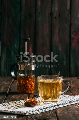 Hot Linden Tea on the Rustic Table