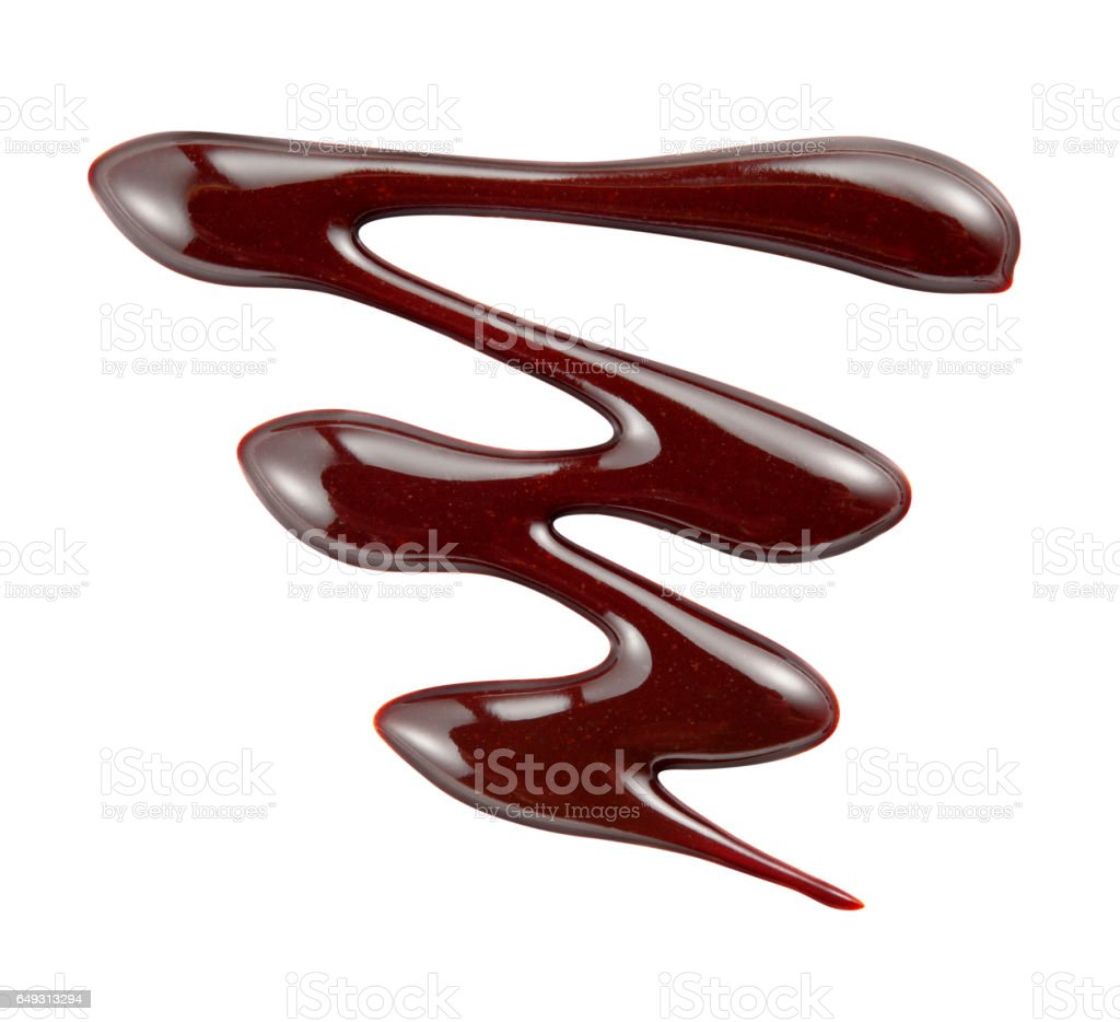 Hot liquid chocolate. Syrup pattern isolated on white background. With clipping path. stock photo
