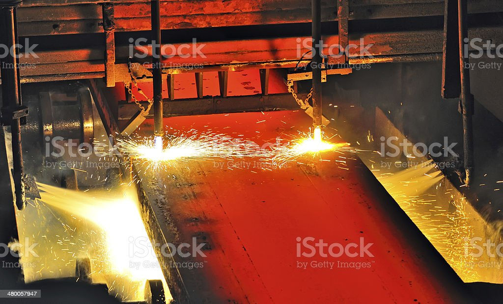 Hot metal cutting royalty-free stock photo