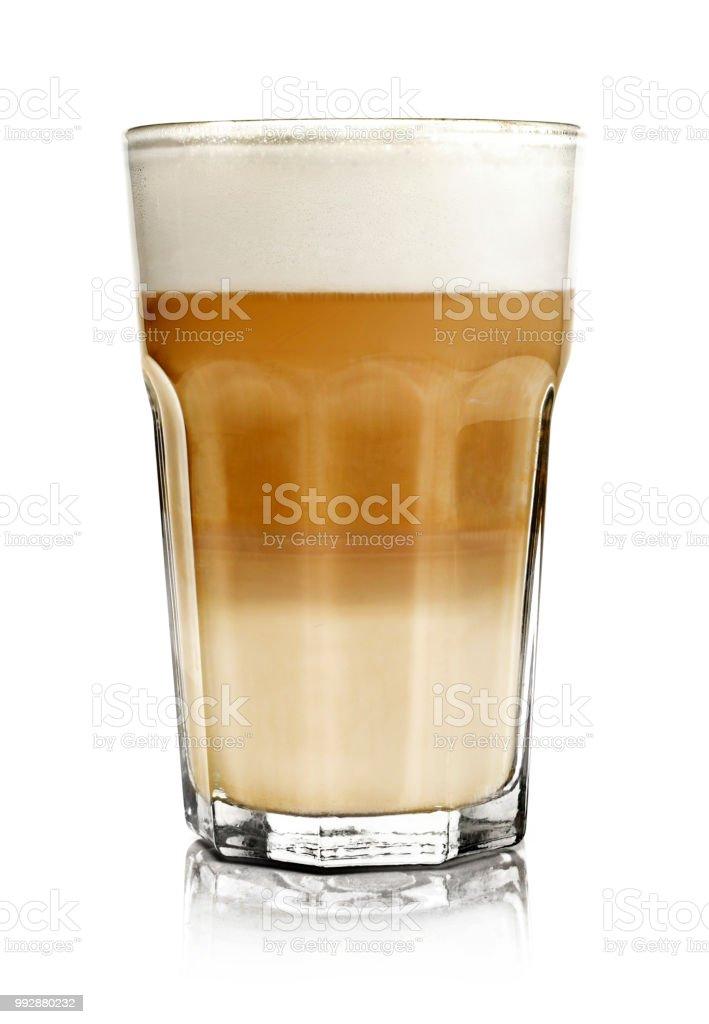 Hot milk coffee or latte macchiato glass, isolated stock photo