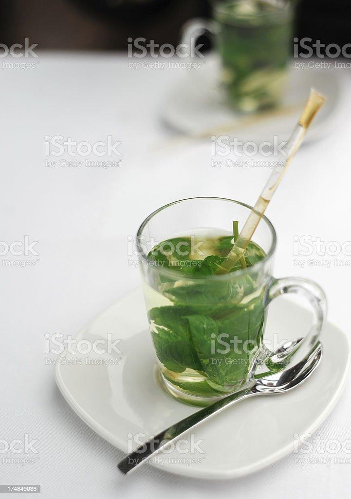 Hot Mint Tea on a Cold Rainy Morning royalty-free stock photo