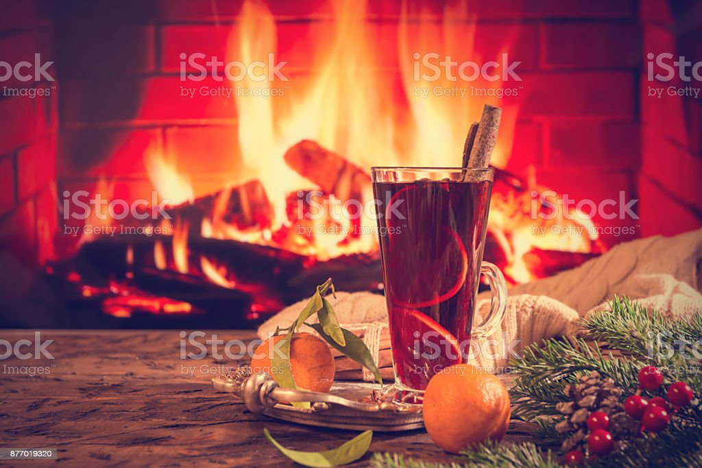 Hot mulled wine in a glass stock photo